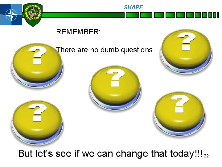 SHAPE Personnel REMEMBER: There are no dumb questions… But let's see if we can