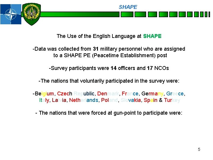 SHAPE Personnel The Use of the English Language at SHAPE -Data was collected from