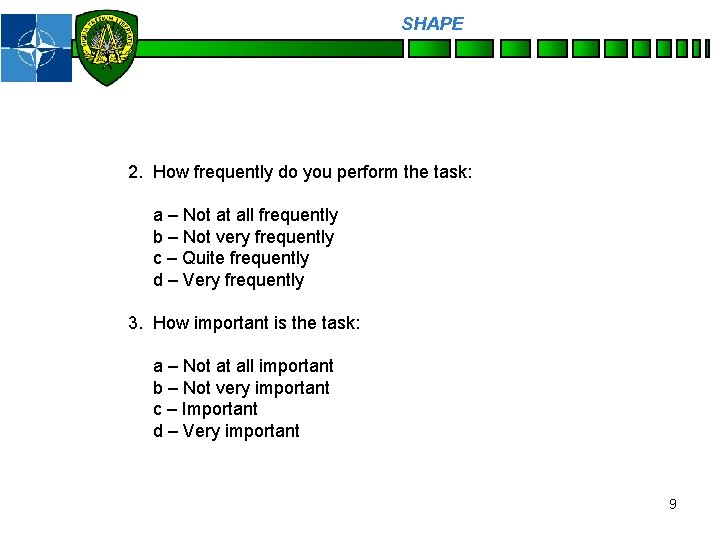 SHAPE Personnel 2. How frequently do you perform the task: a – Not at
