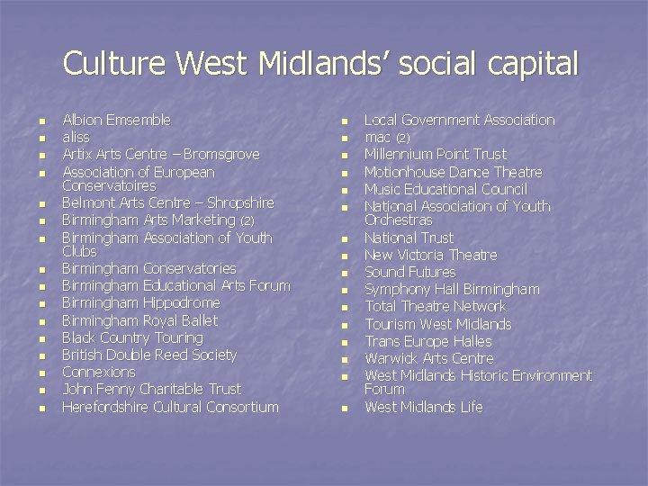 Culture West Midlands' social capital n n n n Albion Emsemble aliss Artix Arts