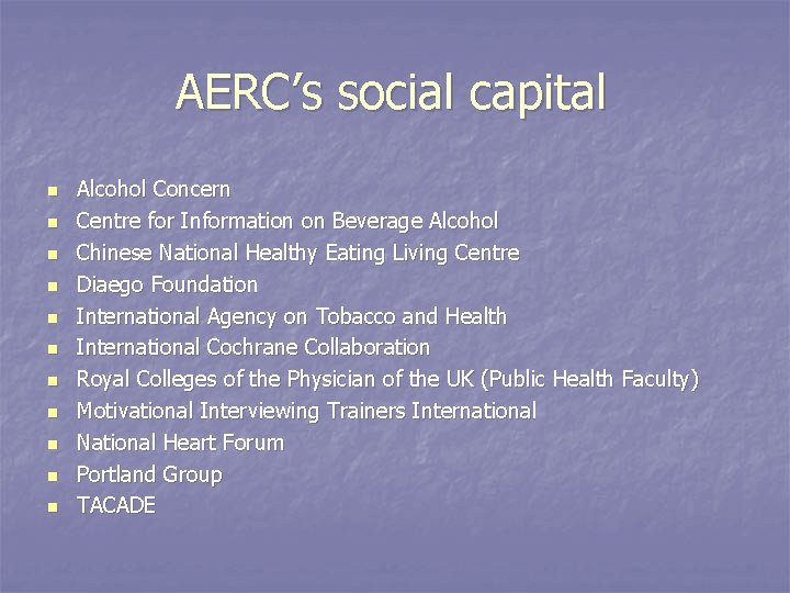 AERC's social capital n n n Alcohol Concern Centre for Information on Beverage Alcohol
