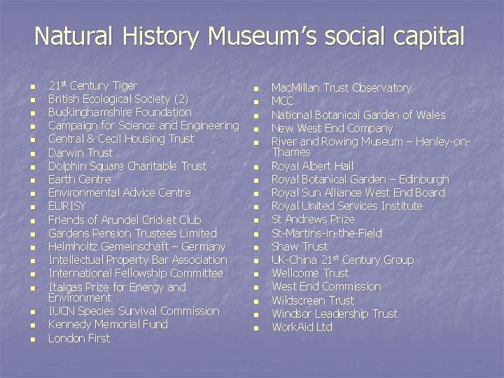 Natural History Museum's social capital n n n n n 21 st Century Tiger