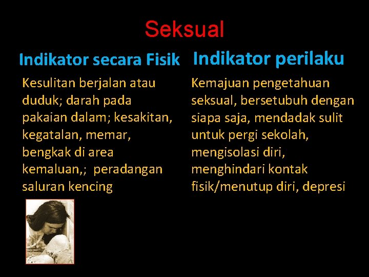 Seksual Indikator secara Fisik Indikator perilaku Kesulitan berjalan atau duduk; darah pada pakaian dalam;
