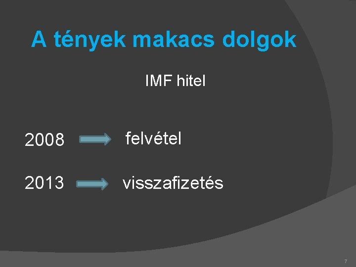 A tények makacs dolgok IMF hitel 2008 felvétel 2013 visszafizetés 7