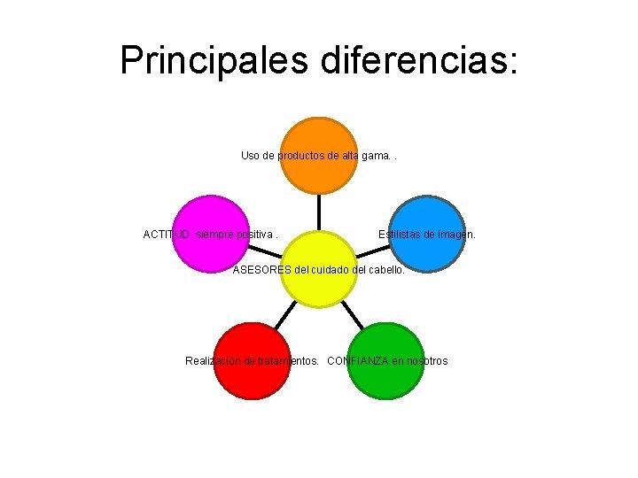 Principales diferencias: Uso de productos de alta gama. . ACTITUD siempre positiva. Estilistas de