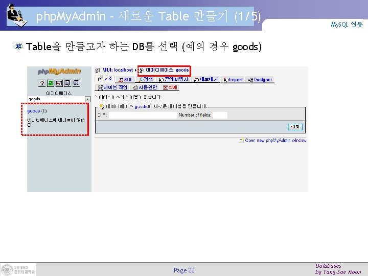 php. My. Admin – 새로운 Table 만들기 (1/5) My. SQL 연동 Table을 만들고자 하는