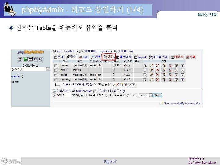 php. My. Admin – 레코드 삽입하기 (1/4) My. SQL 연동 원하는 Table을 메뉴에서 삽입을