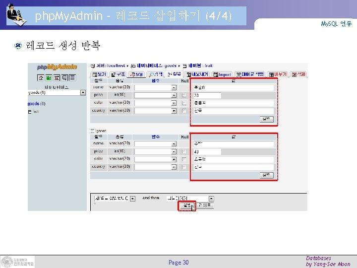 php. My. Admin – 레코드 삽입하기 (4/4) My. SQL 연동 레코드 생성 반복 Page