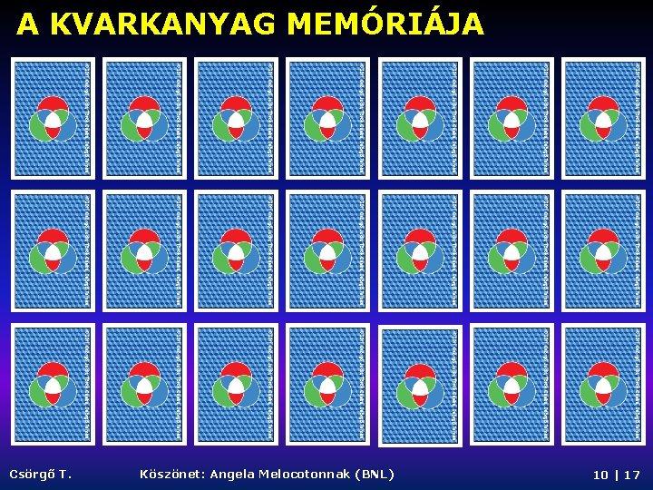 A KVARKANYAG MEMÓRIÁJA Csörgő T. Köszönet: Angela Melocotonnak (BNL) 10   17