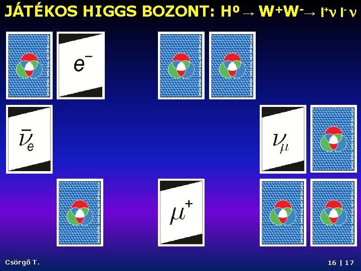 JÁTÉKOS HIGGS BOZONT: H 0 → W+W-→ l+n l- n Csörgő T. 16  