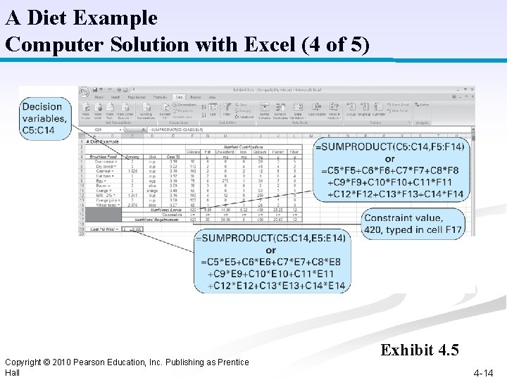 A Diet Example Computer Solution with Excel (4 of 5) Copyright © 2010 Pearson