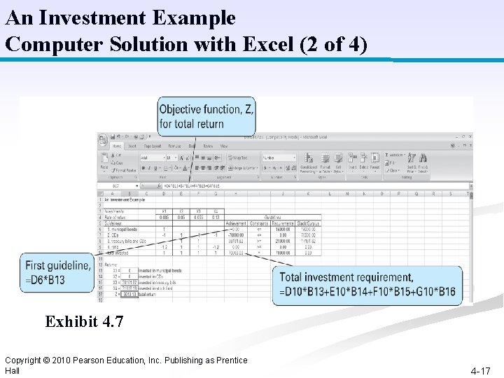 An Investment Example Computer Solution with Excel (2 of 4) Exhibit 4. 7 Copyright