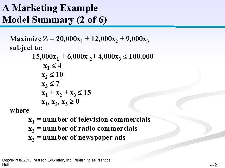 A Marketing Example Model Summary (2 of 6) Maximize Z = 20, 000 x