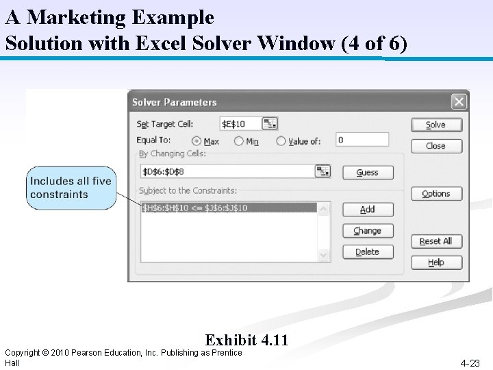 A Marketing Example Solution with Excel Solver Window (4 of 6) Exhibit 4. 11