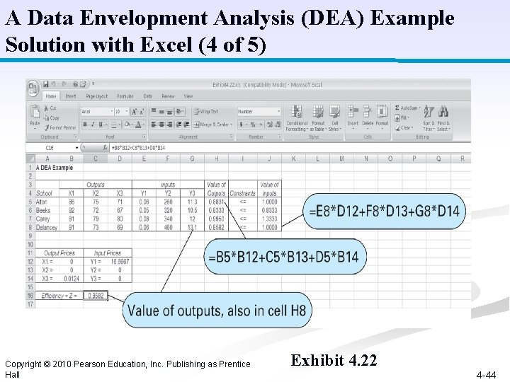 A Data Envelopment Analysis (DEA) Example Solution with Excel (4 of 5) Copyright ©