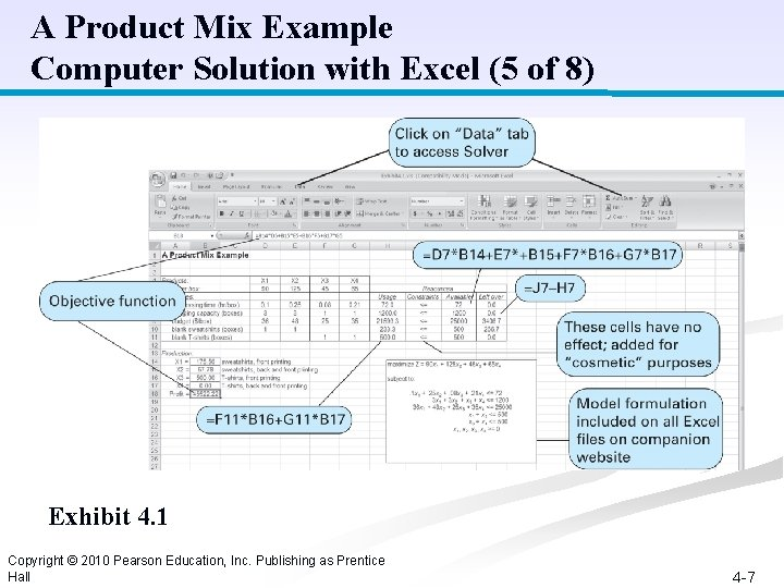 A Product Mix Example Computer Solution with Excel (5 of 8) Exhibit 4. 1