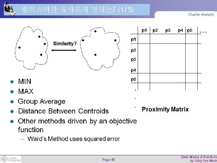 클러스터간 유사도의 정의는? (1/5) Page 48 Cluster Analysis Data Mining & Practices by Yang-Sae