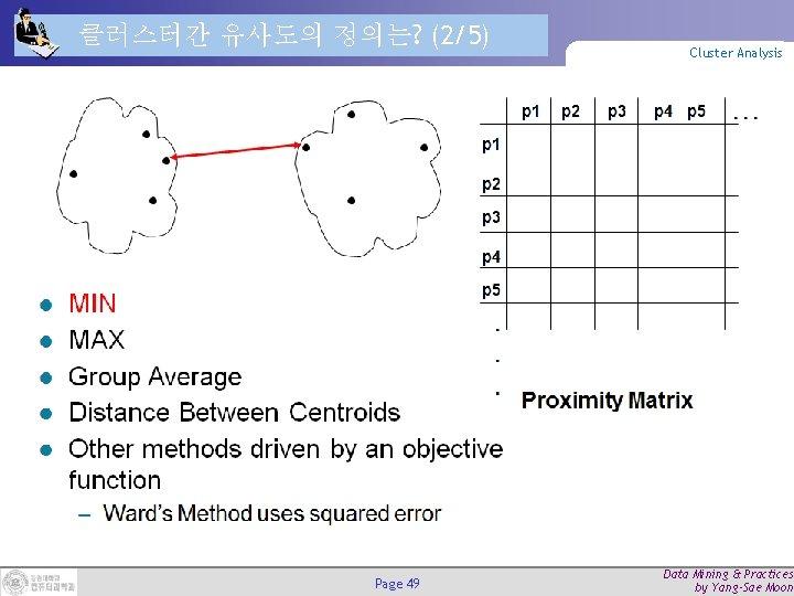 클러스터간 유사도의 정의는? (2/5) Page 49 Cluster Analysis Data Mining & Practices by Yang-Sae