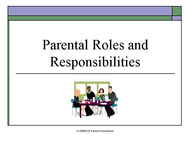 Parental Roles and Responsibilities 11/10/05 22 Parent Involvement