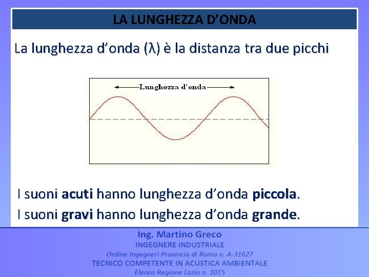 LA LUNGHEZZA D'ONDA La lunghezza d'onda (λ) è la distanza tra due picchi I