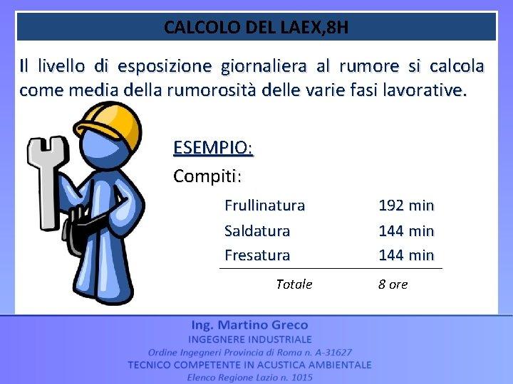 CALCOLO DEL LAEX, 8 H Il livello di esposizione giornaliera al rumore si calcola