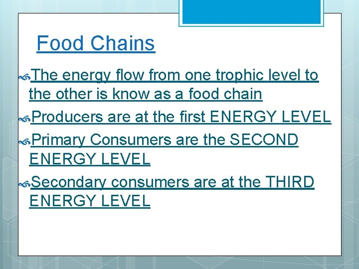 Food Chains The energy flow from one trophic level to the other is know