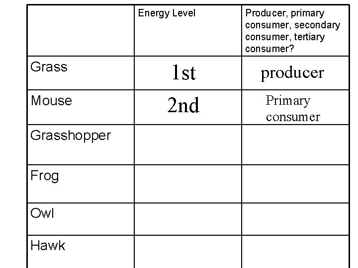 Energy Level Grass Mouse Grasshopper Frog Owl Hawk Producer, primary consumer, secondary consumer, tertiary