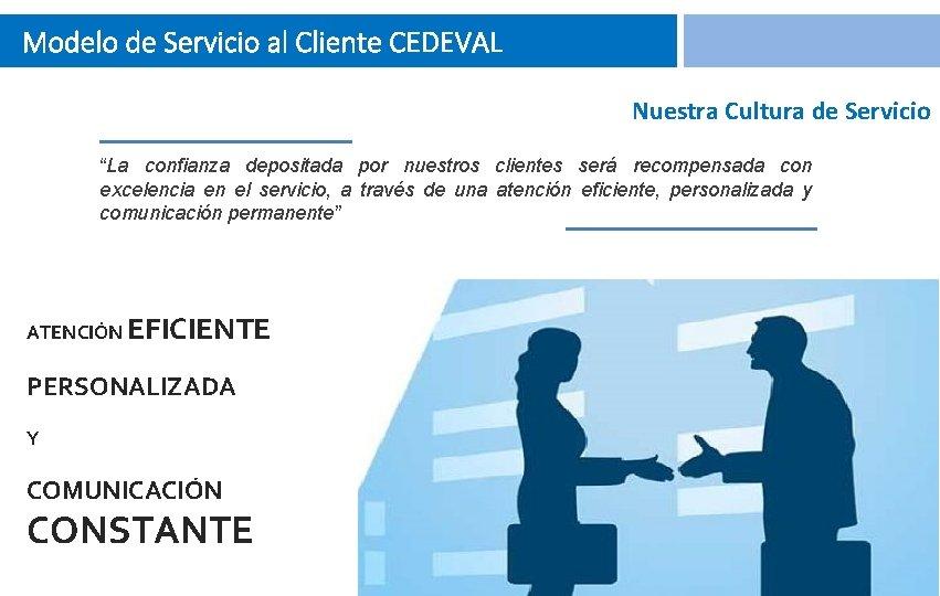 """Modelo de Servicio al Cliente CEDEVAL Nuestra Cultura de Servicio """"La confianza depositada por"""