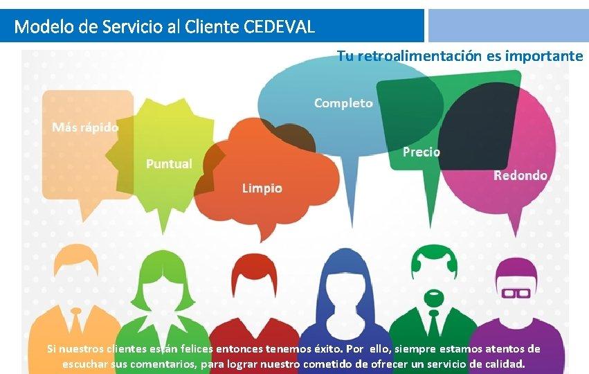 Modelo de Servicio al Cliente CEDEVAL Tu retroalimentación es importante Si nuestros clientes están