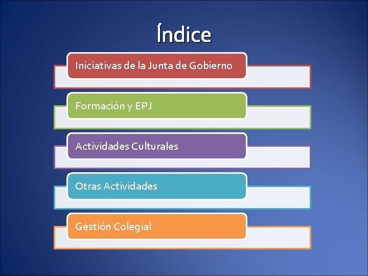 Índice Iniciativas de la Junta de Gobierno Formación y EPJ Actividades Culturales Otras Actividades