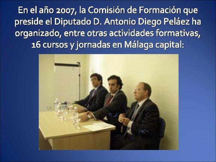 En el año 2007, la Comisión de Formación que preside el Diputado D. Antonio