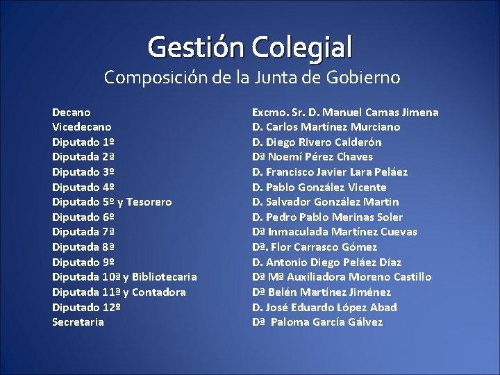 Gestión Colegial Composición de la Junta de Gobierno Decano Vicedecano Diputado 1º Diputada 2ª