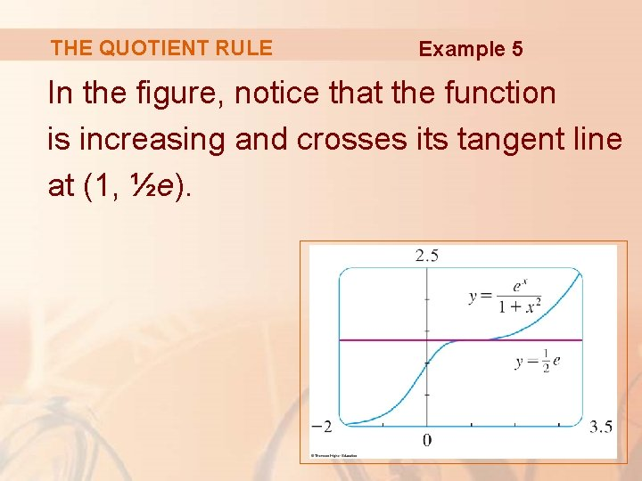 THE QUOTIENT RULE Example 5 In the figure, notice that the function is increasing