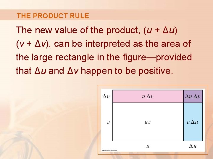 THE PRODUCT RULE The new value of the product, (u + Δu) (v +