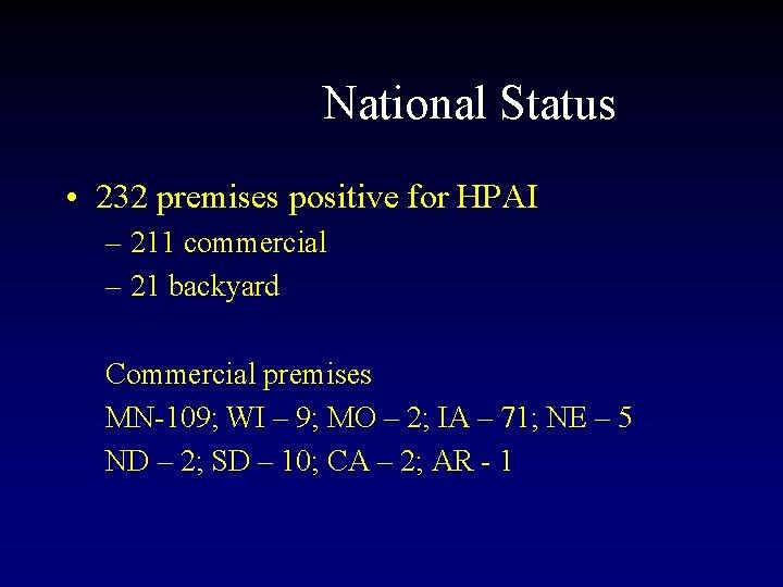National Status • 232 premises positive for HPAI – 211 commercial – 21 backyard