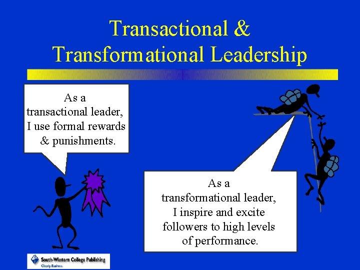 Transactional & Transformational Leadership As a transactional leader, I use formal rewards & punishments.