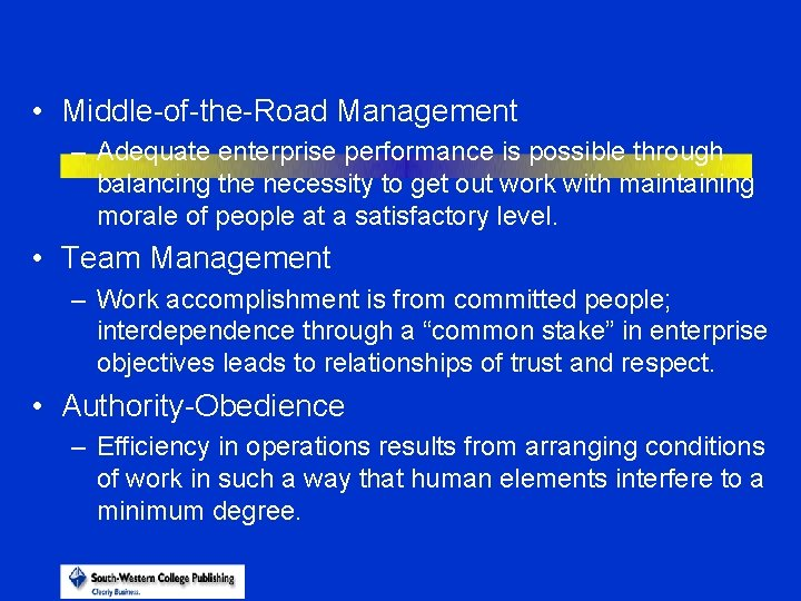 • Middle-of-the-Road Management – Adequate enterprise performance is possible through balancing the necessity