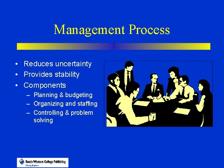 Management Process • Reduces uncertainty • Provides stability • Components – Planning & budgeting