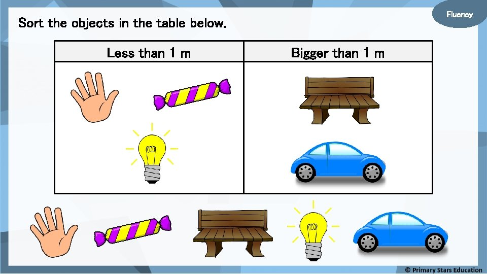 Fluency Sort the objects in the table below. Less than 1 m Bigger than