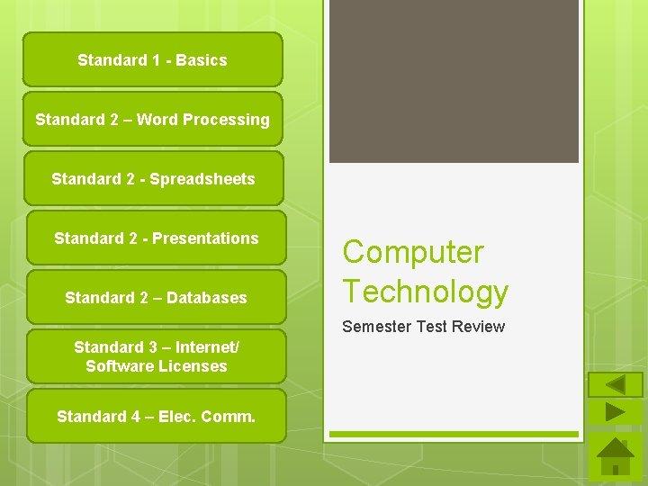 Standard 1 - Basics Standard 2 – Word Processing Standard 2 - Spreadsheets Standard
