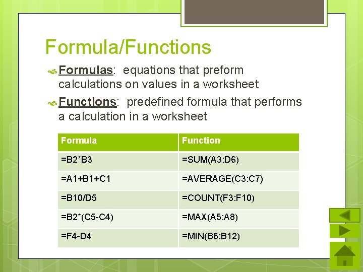Formula/Functions Formulas: equations that preform calculations on values in a worksheet Functions: predefined formula