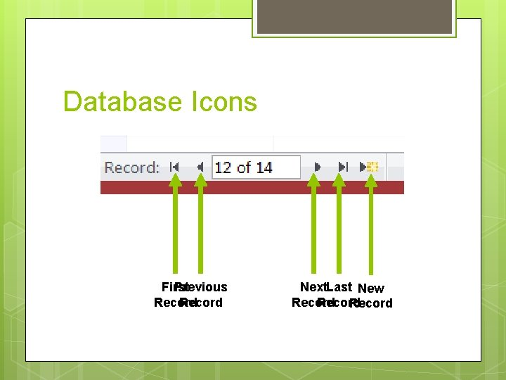Database Icons First Previous Record Next. Last New Record