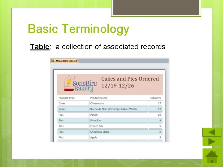 Basic Terminology Table: a collection of associated records