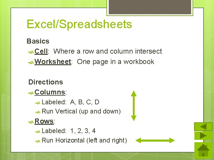 Excel/Spreadsheets Basics Cell: Where a row and column intersect Worksheet: One page in a