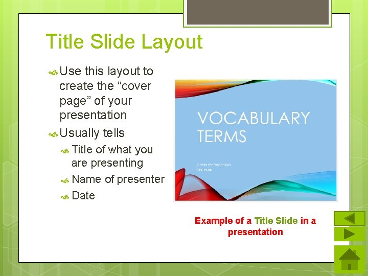 """Title Slide Layout Use this layout to create the """"cover page"""" of your presentation"""
