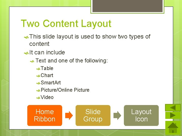 Two Content Layout This slide layout is used to show two types of content