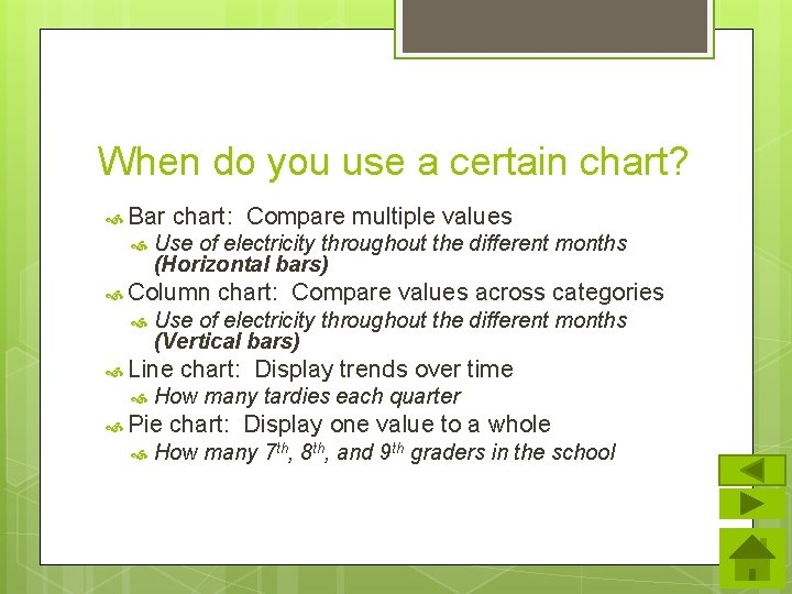 When do you use a certain chart? Bar chart: Compare multiple values Use of