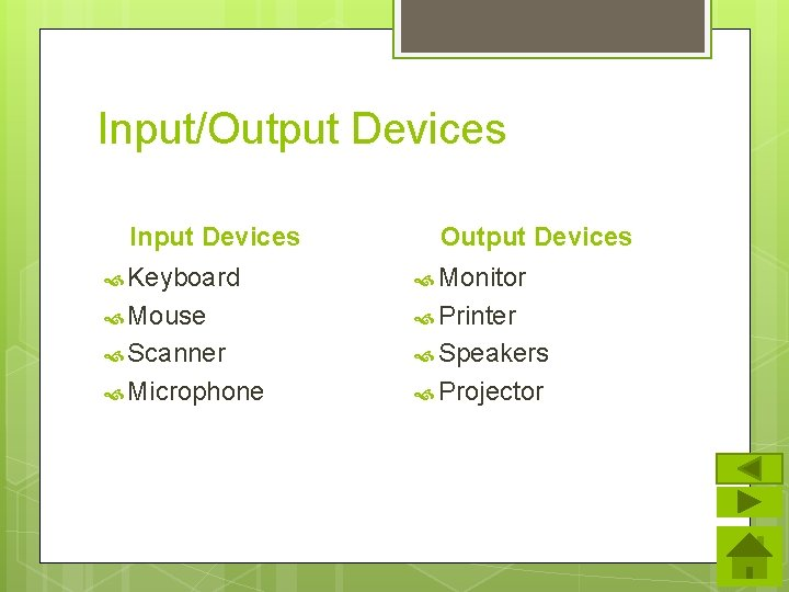 Input/Output Devices Input Devices Output Devices Keyboard Monitor Mouse Printer Scanner Speakers Microphone Projector