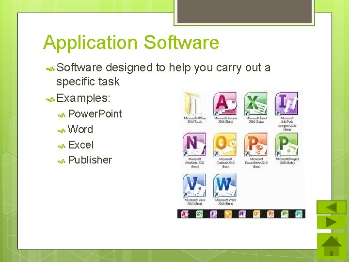 Application Software designed to help you carry out a specific task Examples: Power. Point