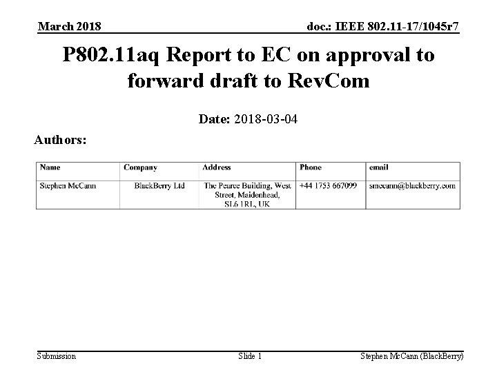 March 2018 doc. : IEEE 802. 11 -17/1045 r 7 P 802. 11 aq